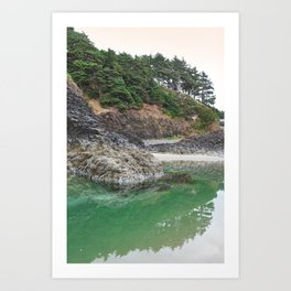 Oregon Coast Tide Pool Green Glowing Forest Coastal Cliff Rocky Landscape Beach Northwest Volcano Art Print