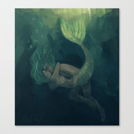 The mermaid and the sailor Canvas Print