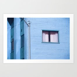 vintage blue wood building with window and electric pole Art Print