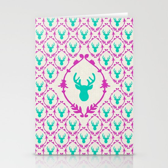 Oh Deer (teal) Stationery Cards