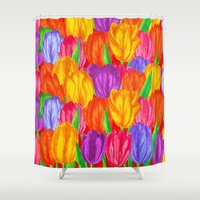 tulip Shower Curtains featuring Tulip by Fifikoussout