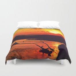 African River Sunset Leopard Duvet Cover