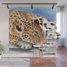 Jaguar Big Cat taking a Nap Watercolor Art Wall Mural
