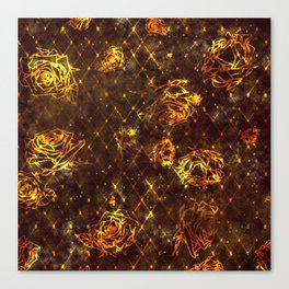 Diamond Rose Pattern - Maroon and Gold Canvas Print