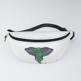 Psychedelic Elephant Sugar Skull Surreal Trippy Abstract Art Fanny Pack