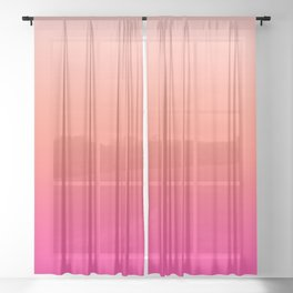 Gradient Ombre Living Coral Millennial Plastic Pink Pattern Peachy Orange Soft Trendy Cute Texture Sheer Curtain
