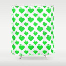 Crown Heart Pattern Green Shower Curtain