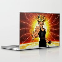dragonball z Laptop & iPad Skins featuring Dragonball Z Trunks sketch colored by bernardtime