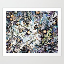 Acorns and Twigs Art Print