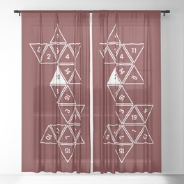 Red Unrolled D20 Sheer Curtain