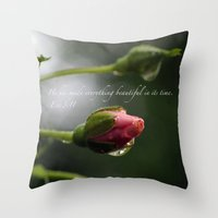 scripture Throw Pillows featuring Pink Rosebud with scripture. by The Time Catcher
