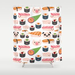 Kawaii sushi white Shower Curtain