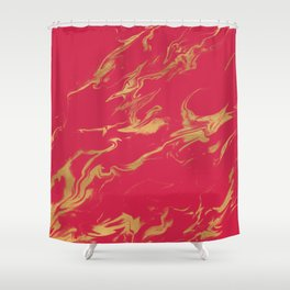 Hot Pink Gold Marble Shower Curtain