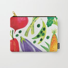 Veg Out - Vegetable, Veggies, Watercolor, Food, Beet, Carrot, Pea Carry-All Pouch
