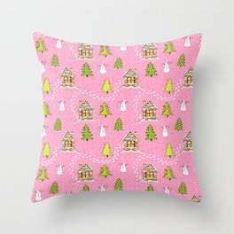 Alpine Ski lodge on Pink Throw Pillow