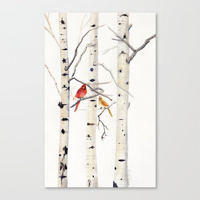 Birch Trees and Cardinal Leinwanddruck