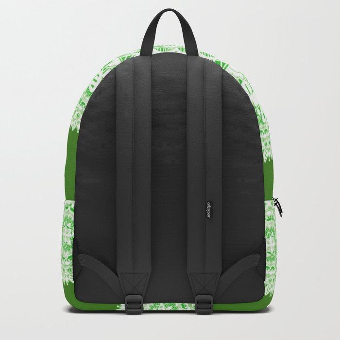 Bright Green Metallic White Mandala Textile Backpack