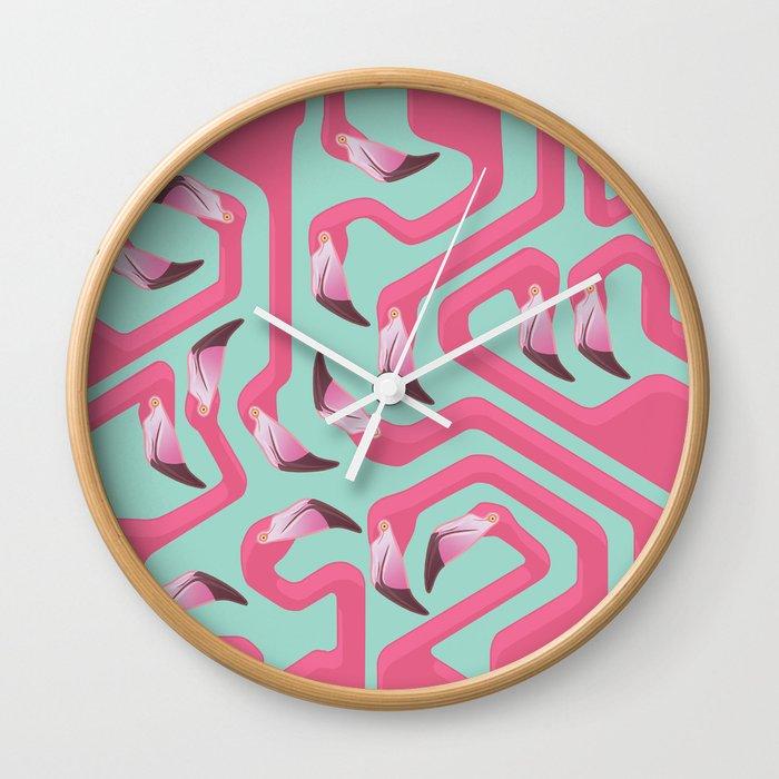 Flamingo Maze on beach glass background. Wall Clock
