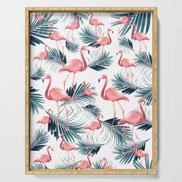 Summer Flamingo Palm Vibes #1 #tropical #decor #art #society6 Serving Tray