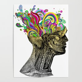Bright neon pink yellow abstract anatomical skull Poster