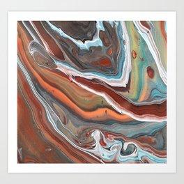 Geode Marble Brown Blue Fluid Modern Art Art Print