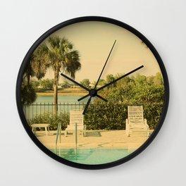 Lolita's Poolside Vacation - Beach Art Wall Clock