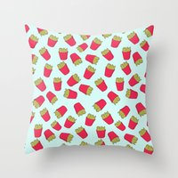 fries Throw Pillows featuring Fries by weheartstore