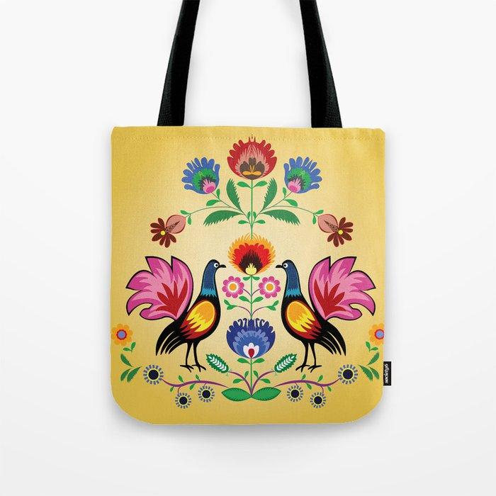 Polish Folk With Decorative Floral & Cockerels Tote Bag