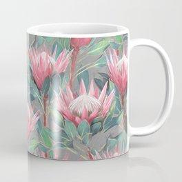 Pink Painted King Proteas on grey Coffee Mug