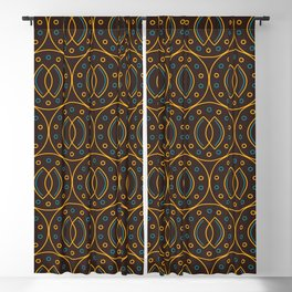 Seamless pattern in Indonesian batik style on the brown background.  Blackout Curtain