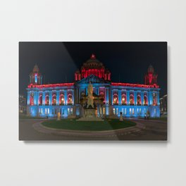 Ireland Monuments Belfast City Hall Night Cities Building night time Houses Metal Print