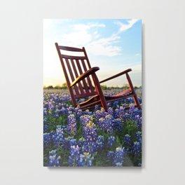 Bluebonnet Rocking Chair Metal Print
