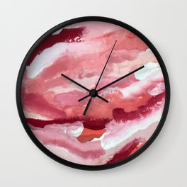 Carnations [2]: abstract | acrylic | watercolor | pink | red | white | wall art | fine art Wall Clock