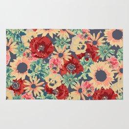 SEPIA FLOWERS -poppies, pansies & sunflowers- Rug