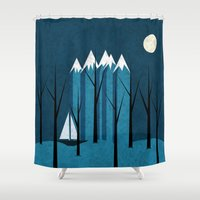 sailing Shower Curtains featuring Sailing by Illusorium