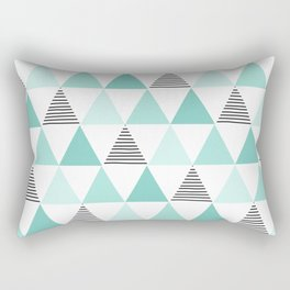 Black Stripes and Mint Triangles Rectangular Pillow