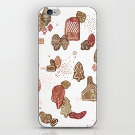Hansel and Gretel Fairy Tale Gingerbread Pattern on White iPhone Skin