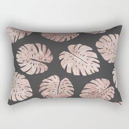 Chic Elegant Rose Gold Swiss Cheese Plant Leaves Rectangular Pillow