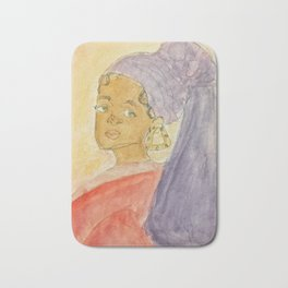 Girl with Bamboo Earring Bath Mat