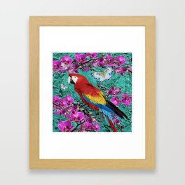 TROPICAL ORCHIDS RED MACAW PARROT JUNGLE ART Framed Art Print