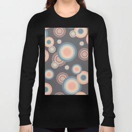 Pastel Rainbow Bubbles Pattern on grey background Long Sleeve T-shirt