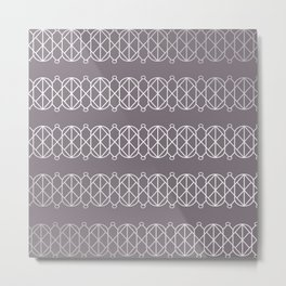 Modern Geometric Pattern with Circles and Lines on Aubergine Metal Print