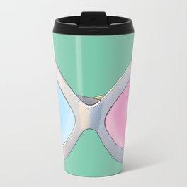 Blue and Pink Cat Eye Glasses Travel Mug