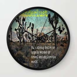 Wanderlust In The Wild Travel Quote Wall Clock