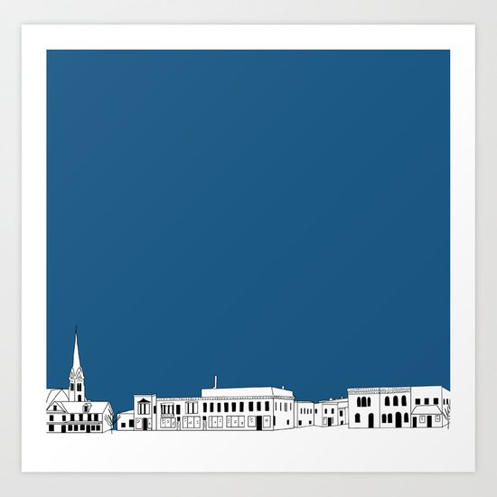 Whitewater Wisconsin Cityscape Illustration Cartoon Art Print