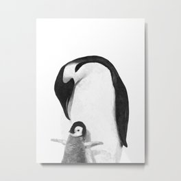 Black and White Penguins Metal Print