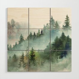 Watercolor Pine Forest Mountains in the Fog Wood Wall Art