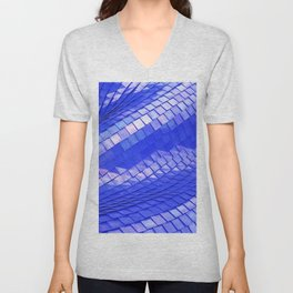 Blue dragon skin Unisex V-Neck
