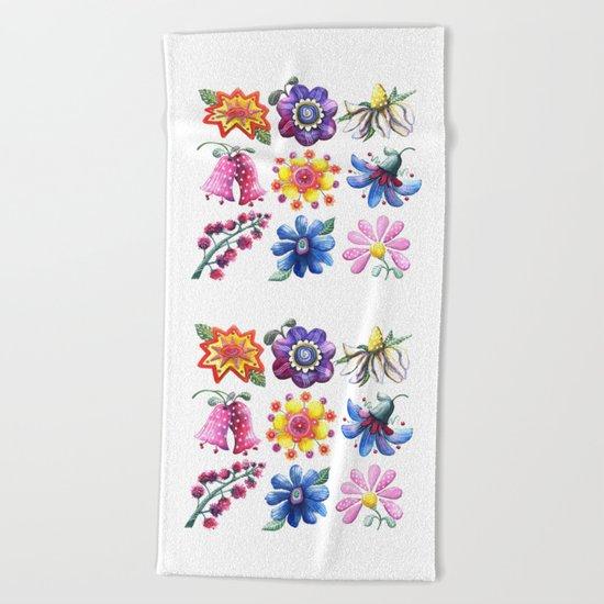 Pretty Flowers All in a Row Beach Towel