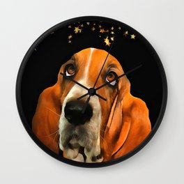 A Basset Hound. (Painting.) Wall Clock